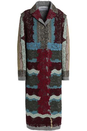 VALENTINO Metallic lace-appliquéd cotton-blend bouclé coat