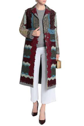 VALENTINO Metallic lace-appliquéd cotton-blend bouclé coat