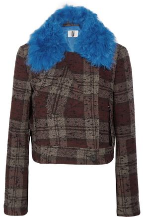 TOPSHOP Shearling-trimmed checked tweed jacket