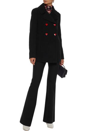 LOVE MOSCHINO Double-breasted snap-detailed wool-blend coat