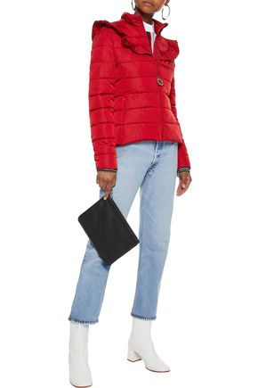 LOVE MOSCHINO Ruffle-trimmed quilted shell jacket