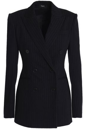 THEORY | Theory Double-Breasted Pinstriped Stretch-Knit Blazer | Goxip