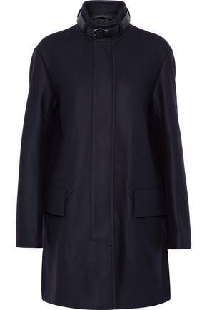 BELSTAFF Moryha leather-trimmed wool-blend coat