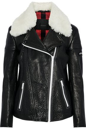 BELSTAFF Ellerslie shearling-trimmed textured-leather biker jacket