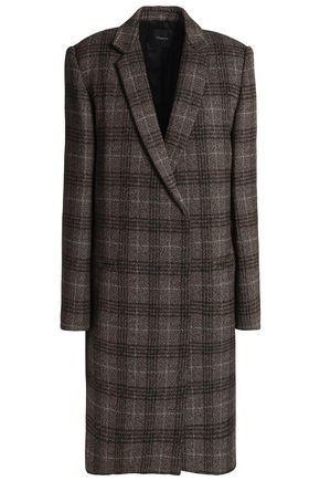 THEORY Checked wool-blend coat