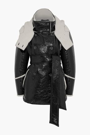 BELSTAFF Bethwin double-breasted faux patent-leather and wool-blend hooded coat