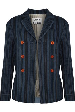 ACNE STUDIOS Jilva button-embellished striped wool, linen and cotton-blend jacket