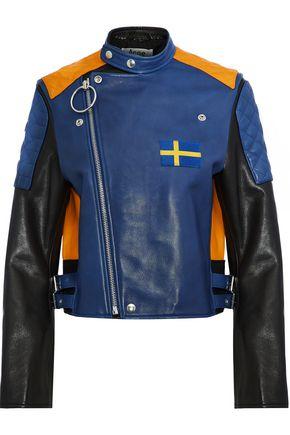 ACNE STUDIOS Locke appliquéd color-block leather biker jacket