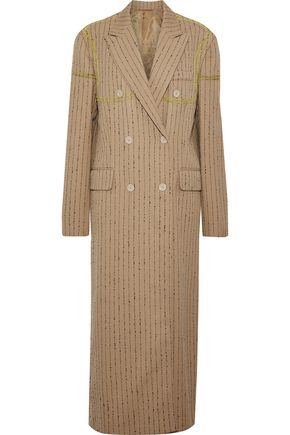 ACNE STUDIOS Double-breasted embroidered bouclé wool-blend twill coat