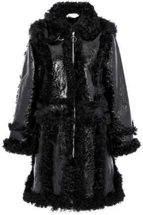 MARQUES' ALMEIDA Crinkled patent-leather and shearling coat