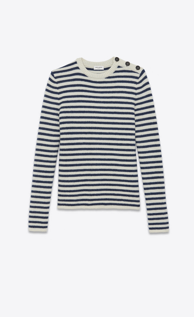SAINT LAURENT Knitwear Tops Woman navy jumper in mohair a_V4