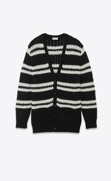 SAINT LAURENT Knitwear Tops Woman openwork alpaca cardigan a_V4