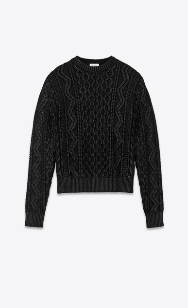 SAINT LAURENT Knitwear Tops Woman lamé aran knit jumper a_V4