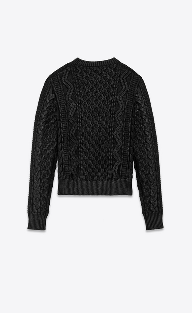SAINT LAURENT Knitwear Tops Woman lamé aran knit jumper b_V4