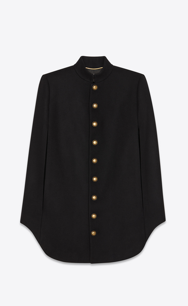 SAINT LAURENT Coats Woman officier cape in army felted wool a_V4