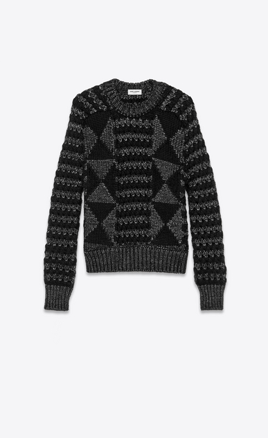 SAINT LAURENT Knitwear Tops Woman lurex wool graphic jumper a_V4