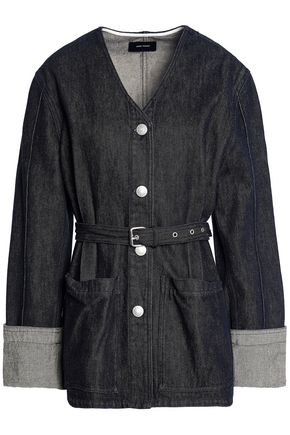 ISABEL MARANT Belted marled denim jacket