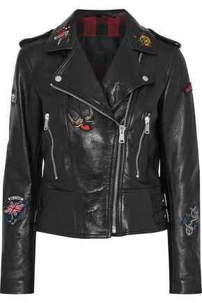 BELSTAFF Appliquéd leather biker jacket