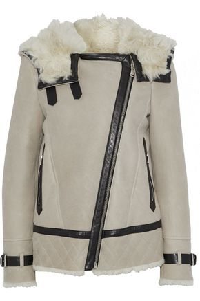 BELSTAFF Marsh leather-trimmed hooded shearling jacket