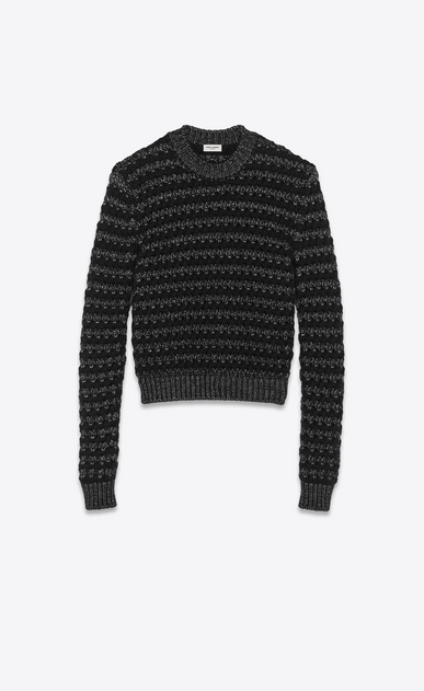 SAINT LAURENT Knitwear Tops Man graphic striped jumper in lurex wool a_V4