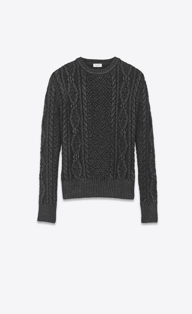 SAINT LAURENT Knitwear Tops Man lamé aran knit sweater a_V4