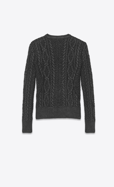 SAINT LAURENT Knitwear Tops Man lamé aran knit sweater b_V4