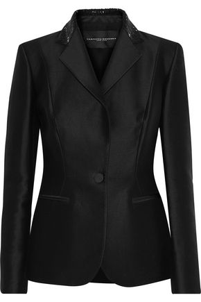 CAROLINA HERRERA Bead-embellished cotton and silk-blend blazer