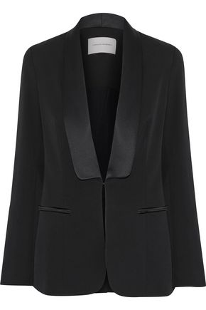 CAROLINA HERRERA Satin-trimmed wool-blend blazer