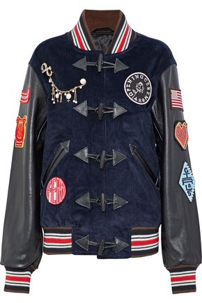 OPENING CEREMONY Leather-paneled appliquéd corduroy jacket
