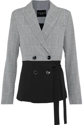 W118 by WALTER BAKER Sophie double-breasted paneled Prince of Wales checked woven jacket