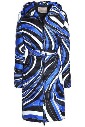 EMILIO PUCCI Printed quilted shell hooded down coat