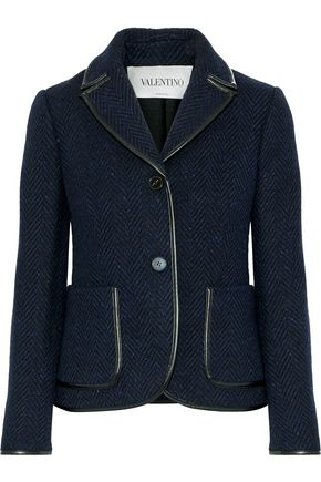 VALENTINO Faux leather-trimmed herringbone wool jacket