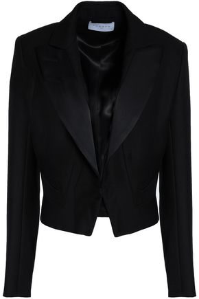 SANDRO Cropped satin-trimmed crepe jacket