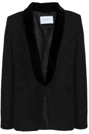 SANDRO Velvet-trimmed corded lace blazer