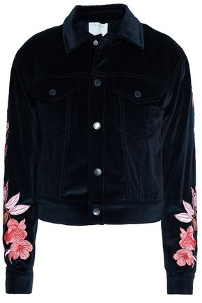 SANDRO_XX Embroidered cotton-velvet jacket