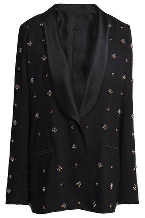 KOCHÉ Satin-trimmed embellished crepe blazer