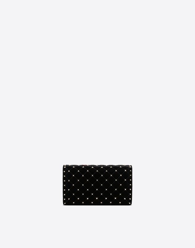 Velvet Embroidery Rockstud Spike crossbody clutch