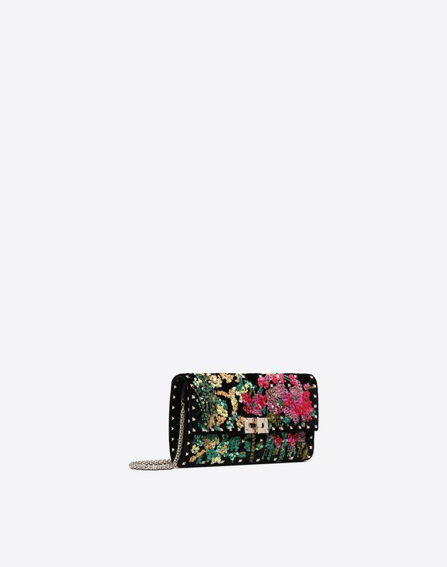 Embroidered Spike Chain Clutch