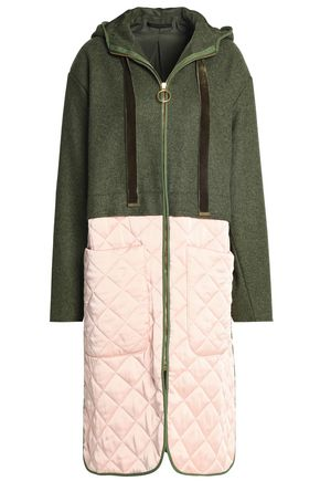 MOTHER OF PEARL Quilted satin and brushed-bouclé hooded coat