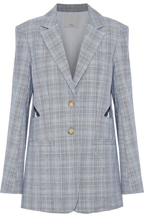 TIBI Prince of Wales wool and silk-blend blazer
