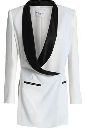 VIONNET Silk satin-trimmed crepe blazer