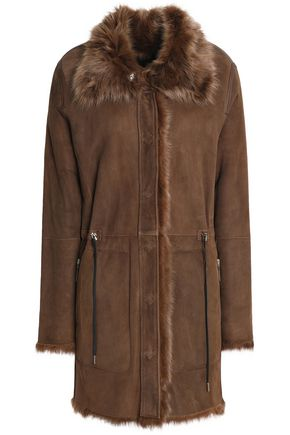 METEO by YVES SALOMON Shearling-lined leather coat