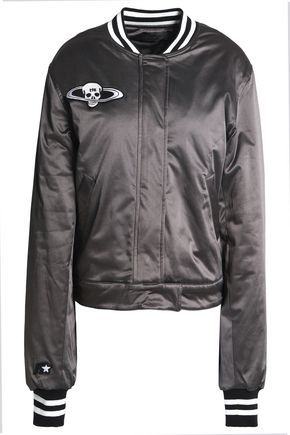 RTA Appliquéd satin bomber jacket