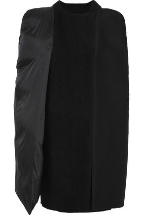 RICK OWENS Paneled shell, twill and brushed-wool cape