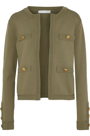 PIERRE BALMAIN Button-embellished stretch-knit jacket