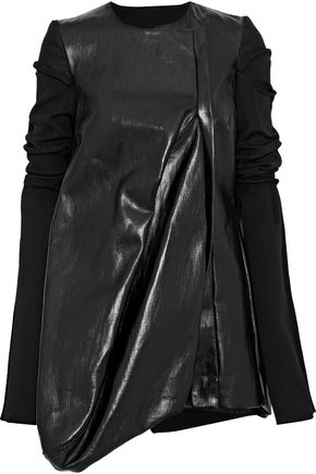 RICK OWENS LILIES Ribbed knit-paneled coated-cotton jacket
