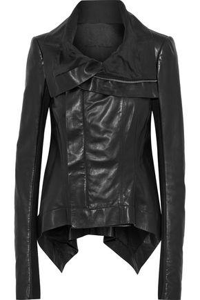 RICK OWENS Rib-paneled leather jacket