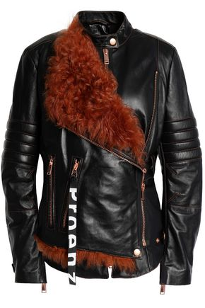 PROENZA SCHOULER Shearling-trimmed leather biker jacket