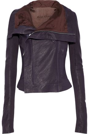 RICK OWENS Classic ribbed knit-paneled pebbled-leather biker jacket