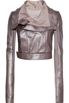 RICK OWENS Cropped metallic textured-leather biker jacket